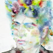 Bob Dylan - Watercolor Portrait.4 Art Print