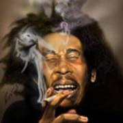 Bob Marley-burning Lights 3 Art Print by Reggie Duffie