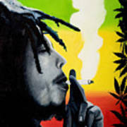 Bob Marley Smoking Art Print