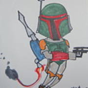 Boba Fett Caricature Art Print