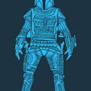 Boba Fett - Star Wars Art, Blue Art Print