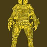 Boba Fett - Star Wars Art, Yellow Art Print
