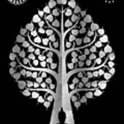 Bodhi Tree_iv_gold05_greyscale Art Print