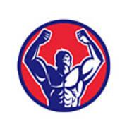 Body Builder Flexing Muscles Circle Retro Art Print