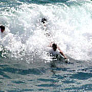 Body Surfing The Ocean Waves Art Print