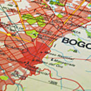 Bogota City Map. Art Print