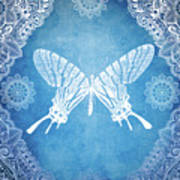 Bohemian Ornamental Butterfly Deep Blue Ombre Illustratration Art Print