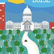 Boise Idaho Vertical Skyline Art Print