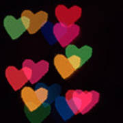 Bokeh Hearts 2 Art Print