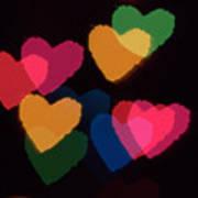 Bokeh Hearts 3 Art Print