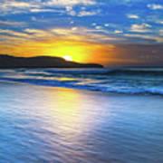 Bold And Blue Sunrise Seascape Art Print