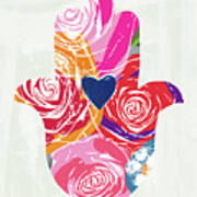 Bold Floral Hamsa- Art By Linda Woods Art Print