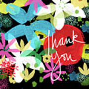Bold Floral Thank You Card- Design By Linda Woods Art Print