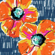 Bold Orange Poppies- Art By Linda Woods Art Print