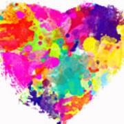 Bold Watercolor Heart - Digital Art Art Print