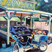Bolinas Farmstand Bike Art Print by Colleen Proppe