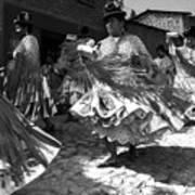 Bolivian Dance Black And White Art Print