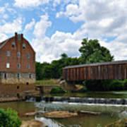 Bollinger Mill And Covered Bridge Art Print