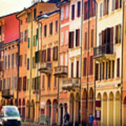 Bologna Window Balcony Texture Colorful Italy Buildings Art Print