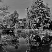 Bonneyville Grist Mill          Black And White        Autumn        Indiana Art Print