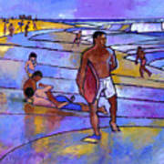 Boogieboarding At Sandy's Print by Douglas Simonson