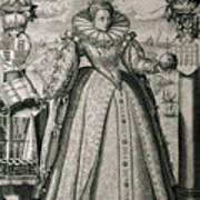 Book Frontispiece Celebrating Queen Elizabeth I's Happy And Prosperous Reign Art Print