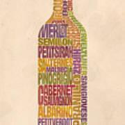 Bordeaux Wine Word Bottle Art Print by Mitch Frey