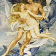 Boreas And Oreithyia Art Print by Evelyn De Morgan