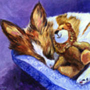 Bos And The Lion - Papillon Art Print by Lyn Cook