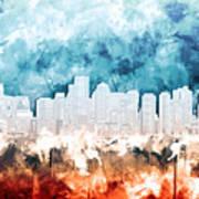 Boston City Skyline Watercolor 2 Art Print