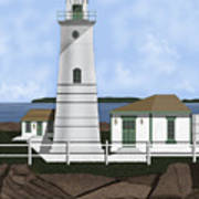 Boston Harbor Lighthouse On Brewster Island Art Print
