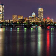 Boston Harbor Nights-panorama Art Print by Joann Vitali