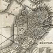 Boston Map Of 1842 Art Print