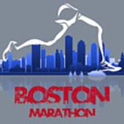 Boston Marathon 3a Running Runner Art Print
