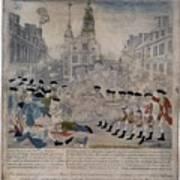 Boston Massacre.  British Troops Shoot Print by Everett