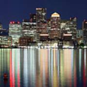 Boston Night Skyline Panorama Art Print
