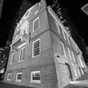 Boston Old State House Boston Ma Angle Black And White Art Print