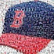Boston Red Sox Cap Mosaic Art Print by Paul Van Scott