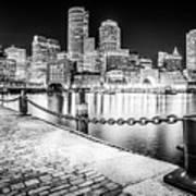 Boston Skyline At Night Black And White Picture Art Print