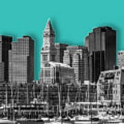 Boston Skyline - Graphic Art - Cyan Art Print