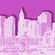 Boston Skyline - Graphic Art - Pink Art Print