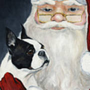 Boston Terrier With Santa Art Print