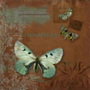 Botanica Vintage Butterflies N Moths Collage 4 Art Print
