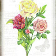 Botanical Vintage Style Watercolor Floral 3 - Peony Tulip And Rose With Butterfly Art Print