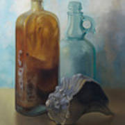 Bottles And Shell Art Print
