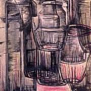 Bottles In Red Art Print
