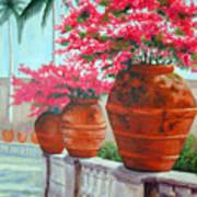 Bougainvillea Pots Art Print