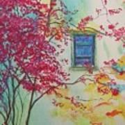 Bouganvilla And Blue Shutter Art Print