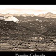 Boulder Colorado Sepia Panorama Poster Print Art Print