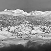 Boulder County Continental Divide Panorama Bw Art Print